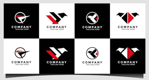 Design de ilustração vetorial de modelo de logotipo simples e moderno de falcão / pássaro