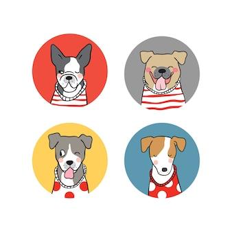Design de ilustração vetorial definir logotipo do cão desenhar estilo doodle