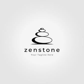 Design de ilustração vetorial vintage de logotipo de pedra zen