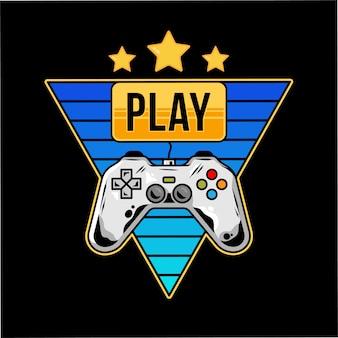 Design de impressão com gamepad para jogar videogame arcade e botão dourado