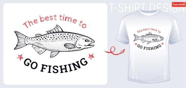 Design de impressão de t-shirt de peixe salmão na mão desenhada estilo de desenho. peixe gravado vintage.