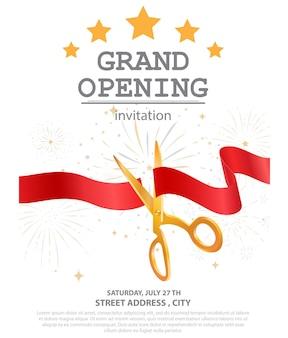 Design de inauguração com fita dourada e confete