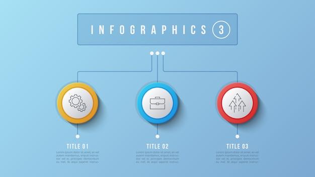 Design de infográfico de 3 opções, gráfico de estrutura, apresentação