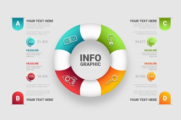 Design de infográfico de anel 3d