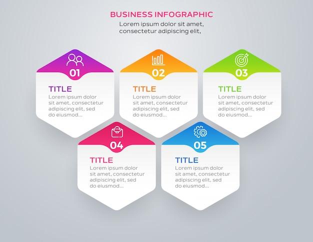 Design de infográfico de negócios com 5 opções