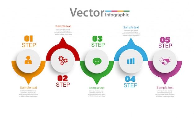 Design de infográficos com cinco opções, etapas ou processos