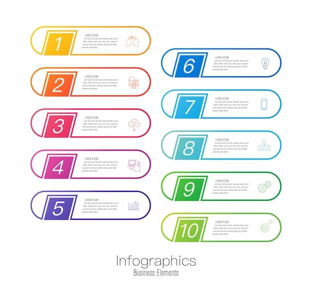 Design de infográficos com etapas ou opções.