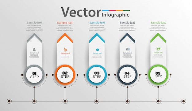 Design de infográficos da linha do tempo com 5 opções, etapas ou processos