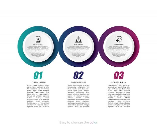 Design de infográficos da linha do tempo com cor gradiente