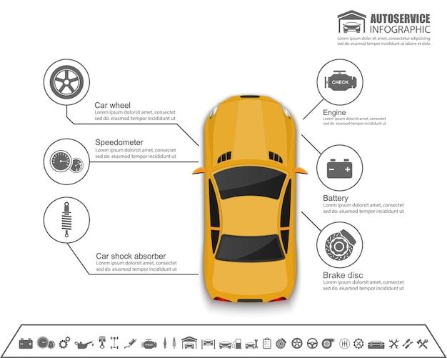 Design de infográficos de auto serviço de carro
