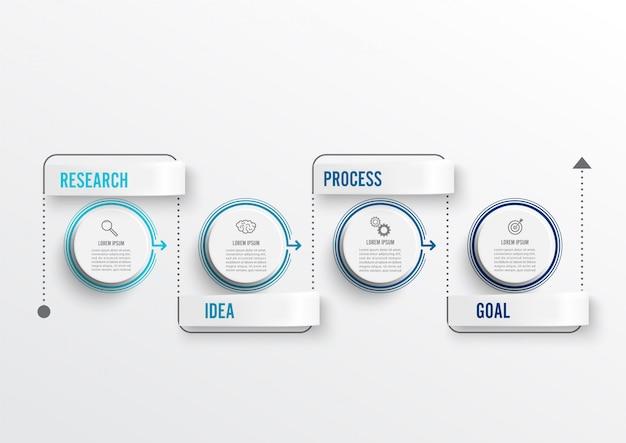 Design de infográficos mínimos de linha fina e 4 opções ou etapas.