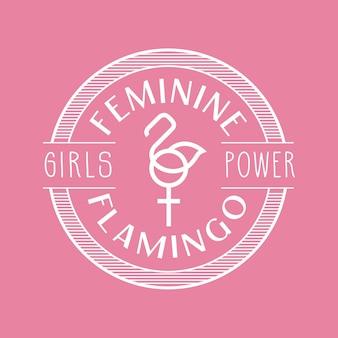 Design de insígnia de flamingo rosa feminino