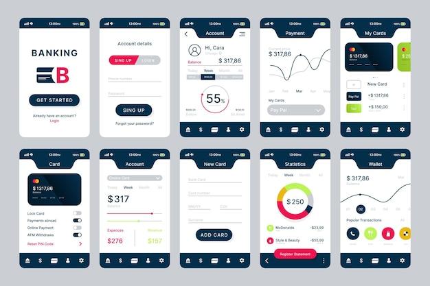 Design de interface de aplicativo bancário