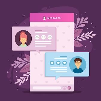 Design de interface de bate-papo de aplicativo de namoro