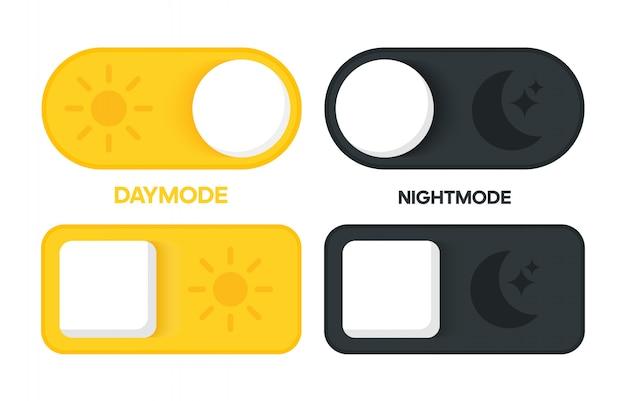 Design de interface de comutador dia e noite. vetor para celular e web.