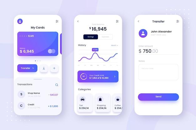 Design de interface de telas de aplicativos bancários