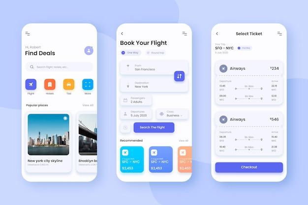 Design de interface de telas de aplicativos de viagem