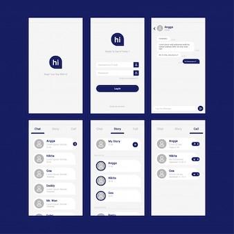 Design de interface de usuário de aplicativo móvel de bate-papo