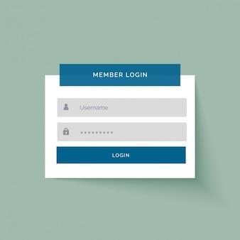 Design de interface de usuário de login membro do estilo etiqueta plana