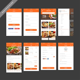 Design de interface de usuário do restaurante mobile app