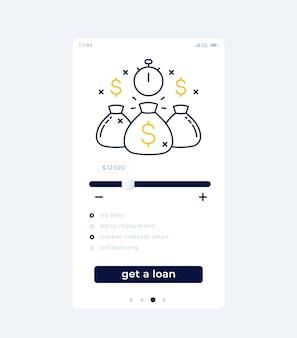 Design de interface do usuário de aplicativo móvel para empréstimo rápido