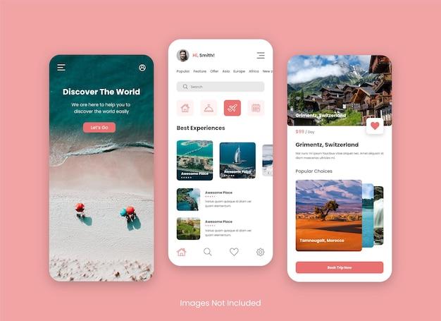 Design de interface do usuário do aplicativo de viagens para celular
