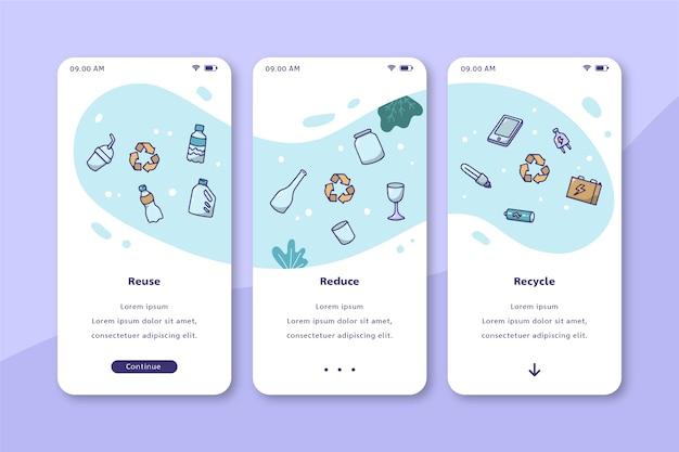 Design de interface móvel de reciclagem de ambiente