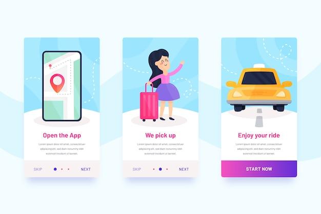 Design de interface móvel de serviço de táxi