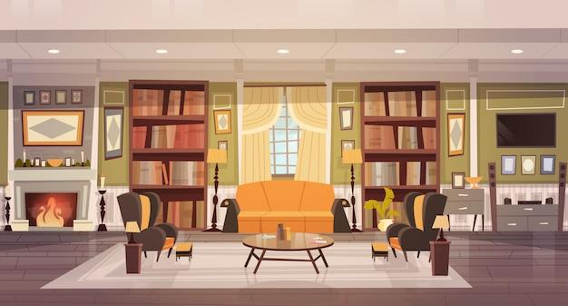 Design de interiores acolhedor da sala de visitas com mobília, sofá, poltronas da tabela, biblioteca da chaminé