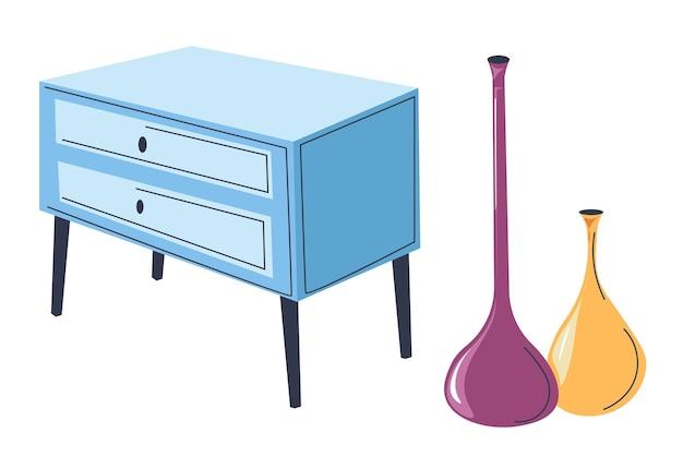 Design de interiores contemporâneo, móveis e decoração. cômoda isolada com vasos longos modernos. acessórios para sala de estar ou local de trabalho. armário criativo luxuoso. vetor em estilo simples