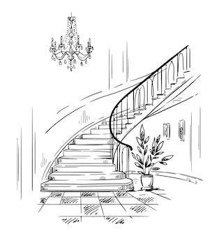Design de interiores, corredor espaçoso e desenho vetorial de escada