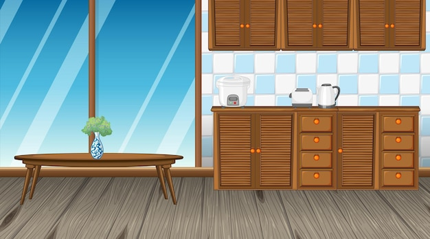 Design de interiores da cozinha com balcão e mesa de centro