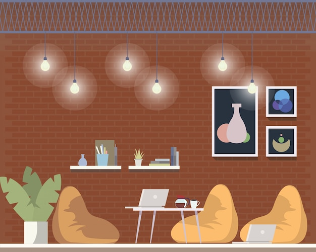 Design de interiores de área freelancer criativa de coworking
