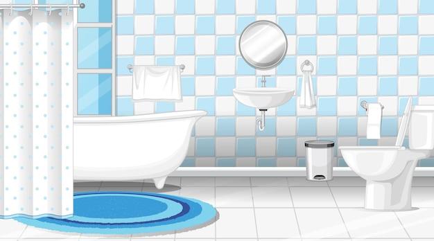 Design de interiores de banheiro com móveis e banheira
