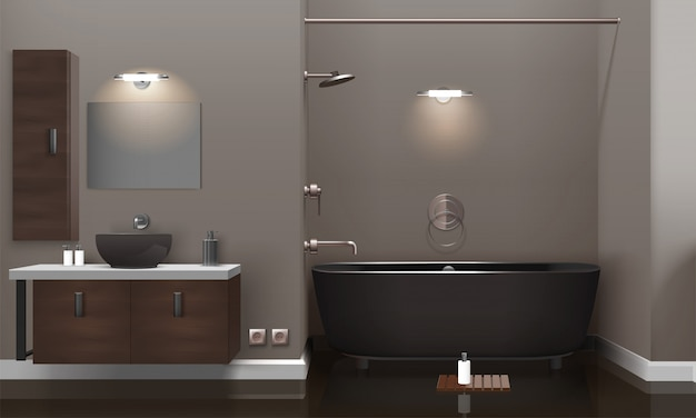 Design de interiores de banheiro realista