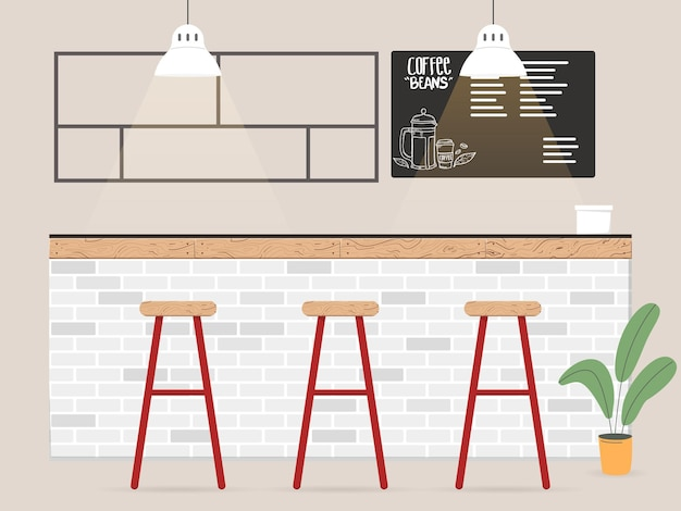 Design de interiores de cafeteria em estilo simples