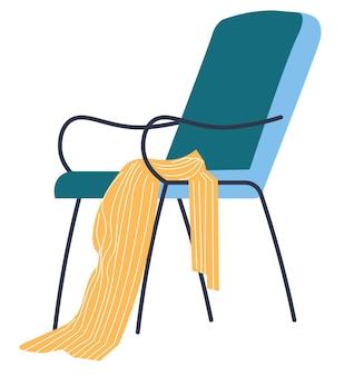 Design de interiores de casa ou escritório. cadeira isolada com manta ou manta macia. móveis minimalistas para moradia ou local de trabalho. decoração escandinava para apartamento ou habitação. vector no plano