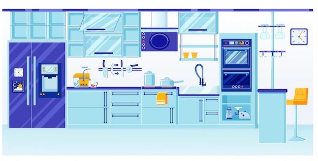 Design de interiores de cozinha azul com vidro brilhante