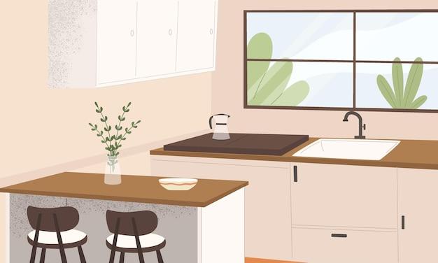Design de interiores de cozinha com pia, utensílios de cozinha limpos, janelas e plantas