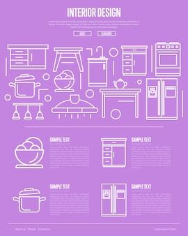 Design de interiores de cozinha em estilo linear