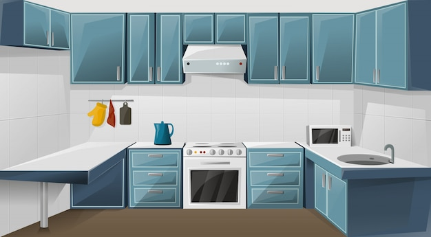 Design de interiores de cozinha. móveis de armário.