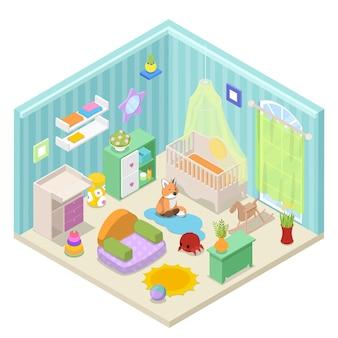 Design de interiores de quarto de bebê com móveis e brinquedos