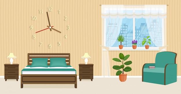 Design de interiores de quartos com cama, mesas de cabeceira, poltrona e grande relógio na parede.