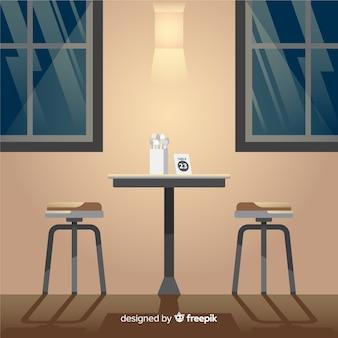 Design de interiores de restaurante elegante com design plano