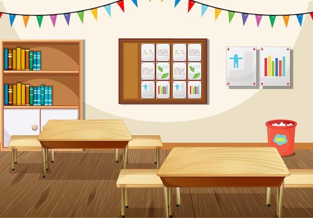 Design de interiores de sala de aula com móveis e decoração Vetor Premium