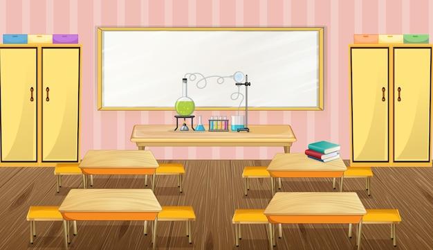Design de interiores de sala de aula com móveis e decoração