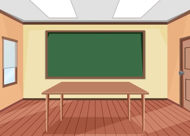 Design de interiores de sala de aula vazia com quadro-negro