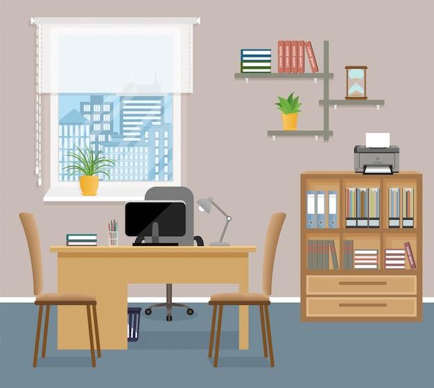 Design de interiores de sala de escritório com móveis e janela sem pessoas.