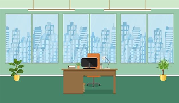 Design de interiores de sala de escritório. ilustração do estilo simples.