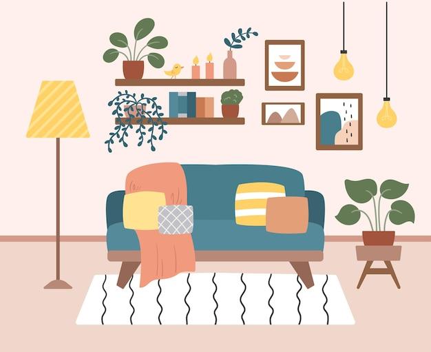 Design de interiores de sala de estar aconchegante com móveis e plantas em vasos.